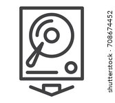 hard drive line icon  outline... | Shutterstock .eps vector #708674452