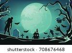 haunted house halloween... | Shutterstock .eps vector #708676468