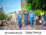 happy family walking in the... | Shutterstock . vector #708679456