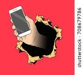 hand holding mobile phone....   Shutterstock .eps vector #708679786