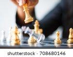 close up shot golden chess to... | Shutterstock . vector #708680146