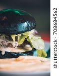 charcoal beef burger with...   Shutterstock . vector #708684562