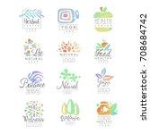 welness  zen  yoga  herbal... | Shutterstock .eps vector #708684742