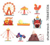 amusement park with family... | Shutterstock .eps vector #708685336