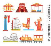 amusement park elements set ... | Shutterstock .eps vector #708685612
