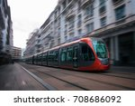 a tram moving in the streets of ...   Shutterstock . vector #708686092