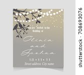 wedding invitation template... | Shutterstock .eps vector #708693076