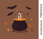 symbol of halloween. witches... | Shutterstock .eps vector #708695416