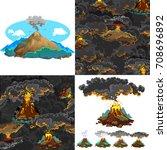 a set of volcanoes of varying... | Shutterstock .eps vector #708696892