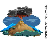 a set of volcanoes of varying... | Shutterstock .eps vector #708696982