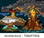 a set of volcanoes of varying... | Shutterstock .eps vector #708697006