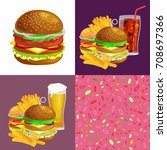 set of burger grilled beef and... | Shutterstock .eps vector #708697366