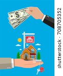 suburban family house set in...   Shutterstock .eps vector #708705352