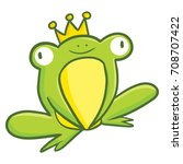 Funny and cute green frog wearing golden crown - vector.