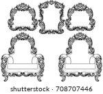 armchair and vintage frames set ... | Shutterstock .eps vector #708707446
