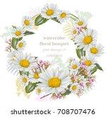 chamomile flowers round wreath... | Shutterstock .eps vector #708707476