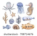 set of sea life elements.... | Shutterstock . vector #708714676