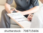 doctor physician consulting...   Shutterstock . vector #708715606