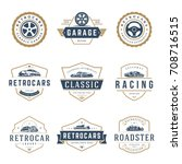 Stock vector car logos templates vector design elements set vintage style emblems and badges retro illustration 708716515