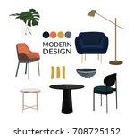 vector interior design elements....   Shutterstock .eps vector #708725152