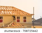 rear view of builder at eco... | Shutterstock . vector #708725662