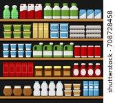supermarket. shelfs shelves... | Shutterstock .eps vector #708728458