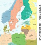 baltic sea area map   detailed... | Shutterstock .eps vector #708738316
