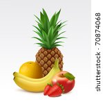 ripe pineapple  orange  bananas ... | Shutterstock .eps vector #70874068