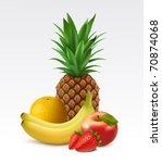 ripe pineapple  orange  bananas ... | Shutterstock .eps vector #70874068