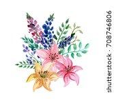 watercolor flowers bouquet | Shutterstock . vector #708746806