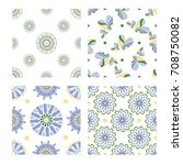 collection of four tiling... | Shutterstock .eps vector #708750082