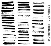 ink brush strokes set isolated... | Shutterstock .eps vector #708758836