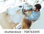 top view of office workers... | Shutterstock . vector #708763345
