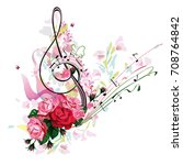 abstract treble clef decorated...   Shutterstock .eps vector #708764842