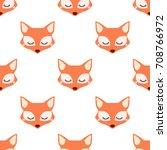 sleepy fox. seamless vector... | Shutterstock .eps vector #708766972