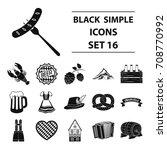 oktoberfest set icons in black... | Shutterstock .eps vector #708770992