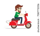 funny bearded guy riding red... | Shutterstock . vector #708773356