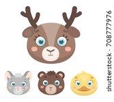 bear  duck  mouse  deer. animal'... | Shutterstock .eps vector #708777976