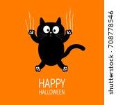 happy halloween. black cat claw ... | Shutterstock . vector #708778546