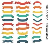 ribbon set in flat style... | Shutterstock .eps vector #708779488