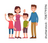 happy family. parents standing... | Shutterstock .eps vector #708779596