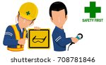 worker is holding warning sign... | Shutterstock .eps vector #708781846