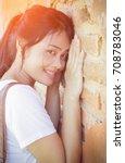 beautiful young woman portrait... | Shutterstock . vector #708783046
