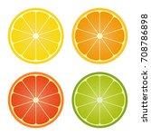 citrus fruits collection. lemon ... | Shutterstock .eps vector #708786898