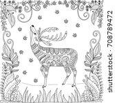 coloring book page of deer in... | Shutterstock .eps vector #708789472