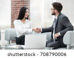handshake of manager and client ... | Shutterstock . vector #708790006