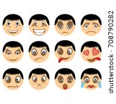 set of human emoticon vector | Shutterstock .eps vector #708790282