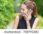 beautiful smiling woman... | Shutterstock . vector #708792382