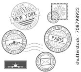 postmarks and tourist stamps.... | Shutterstock .eps vector #708798922