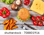 delicious sandwich with sesame. ... | Shutterstock . vector #708801916